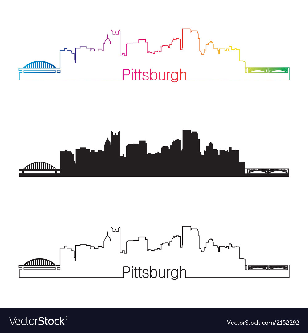 Pittsburgh skyline linear style with rainbow vector | Price: 1 Credit (USD $1)