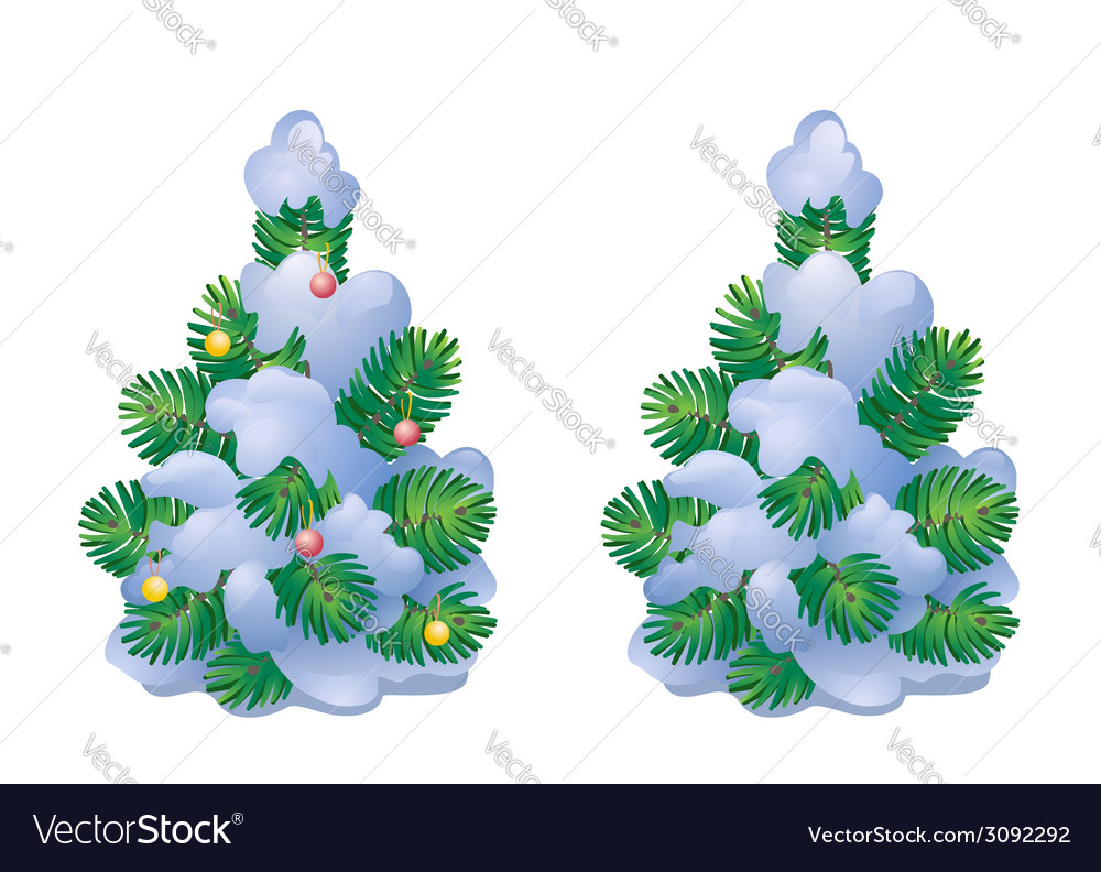 Snow covered christmas tree vector | Price: 1 Credit (USD $1)