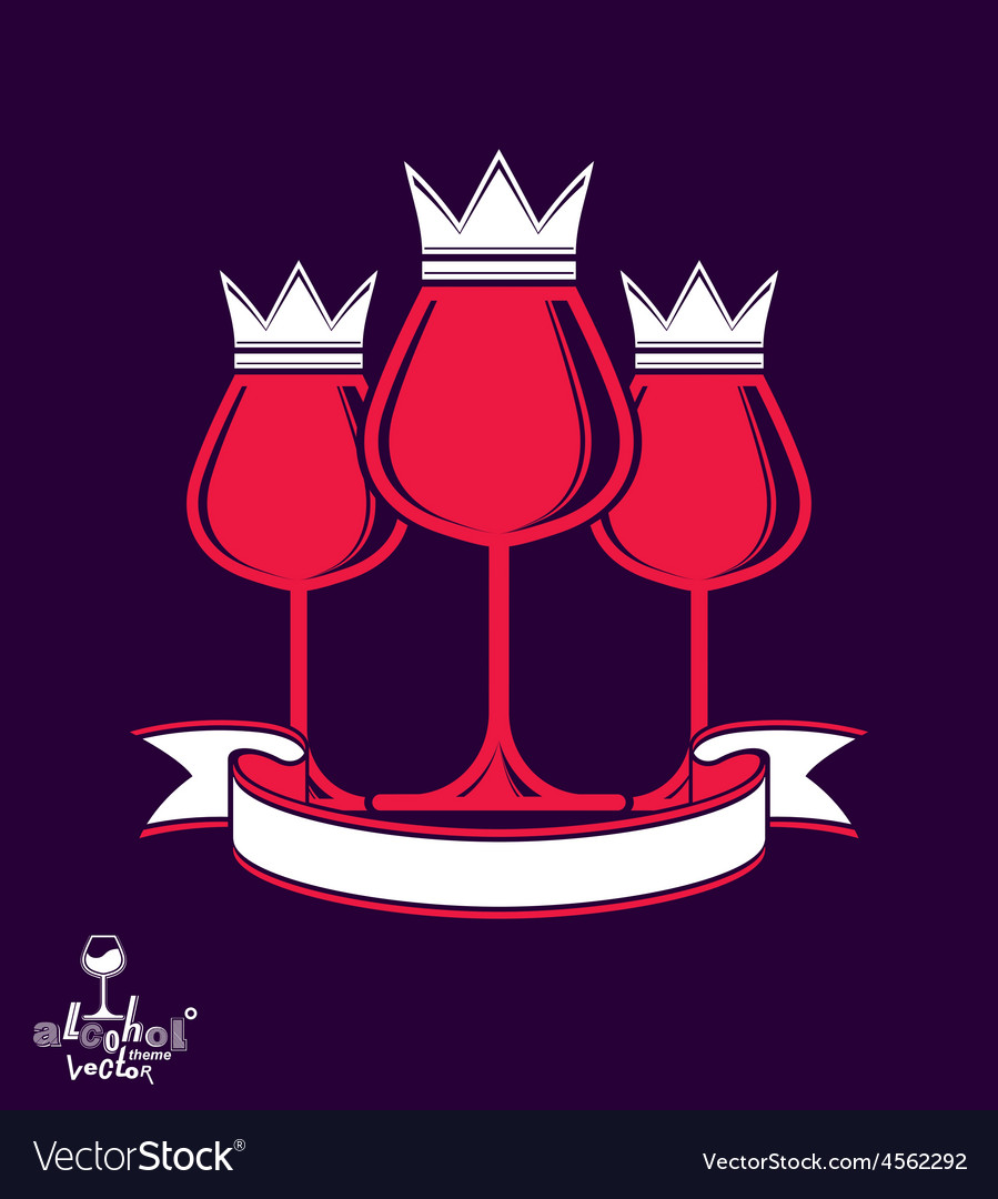 Sophisticated luxury wineglasses with king crown vector | Price: 1 Credit (USD $1)