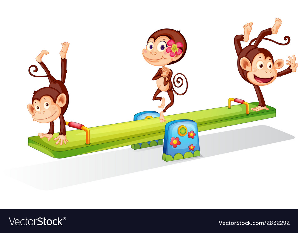 Three playful monkeys playing with the seesaw vector | Price: 1 Credit (USD $1)