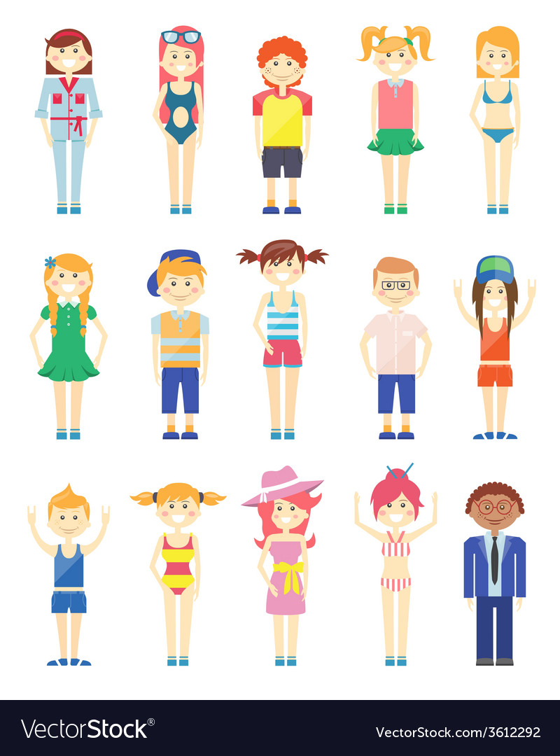 Various smiling boys and girls graphics vector   Price: 1 Credit (USD $1)