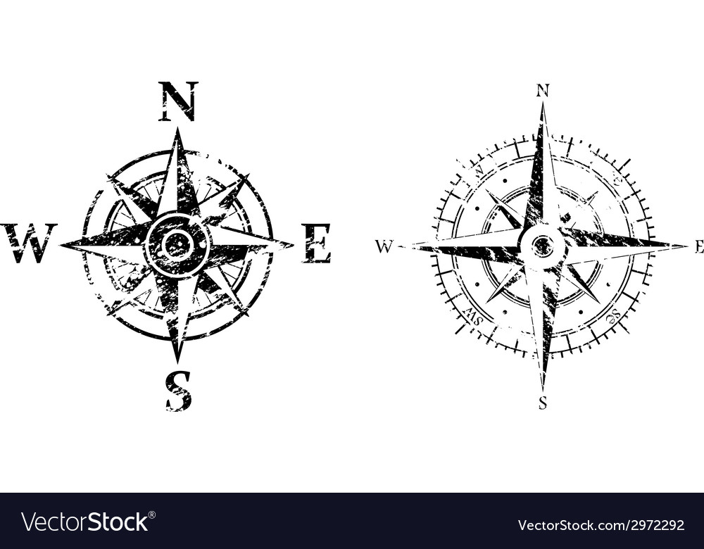 Wind rose grunge vector | Price: 1 Credit (USD $1)