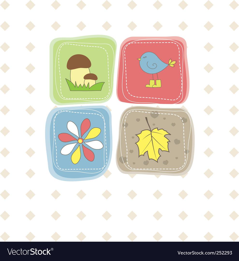 Bird flower leaf mushroom illustration vector   Price: 1 Credit (USD $1)