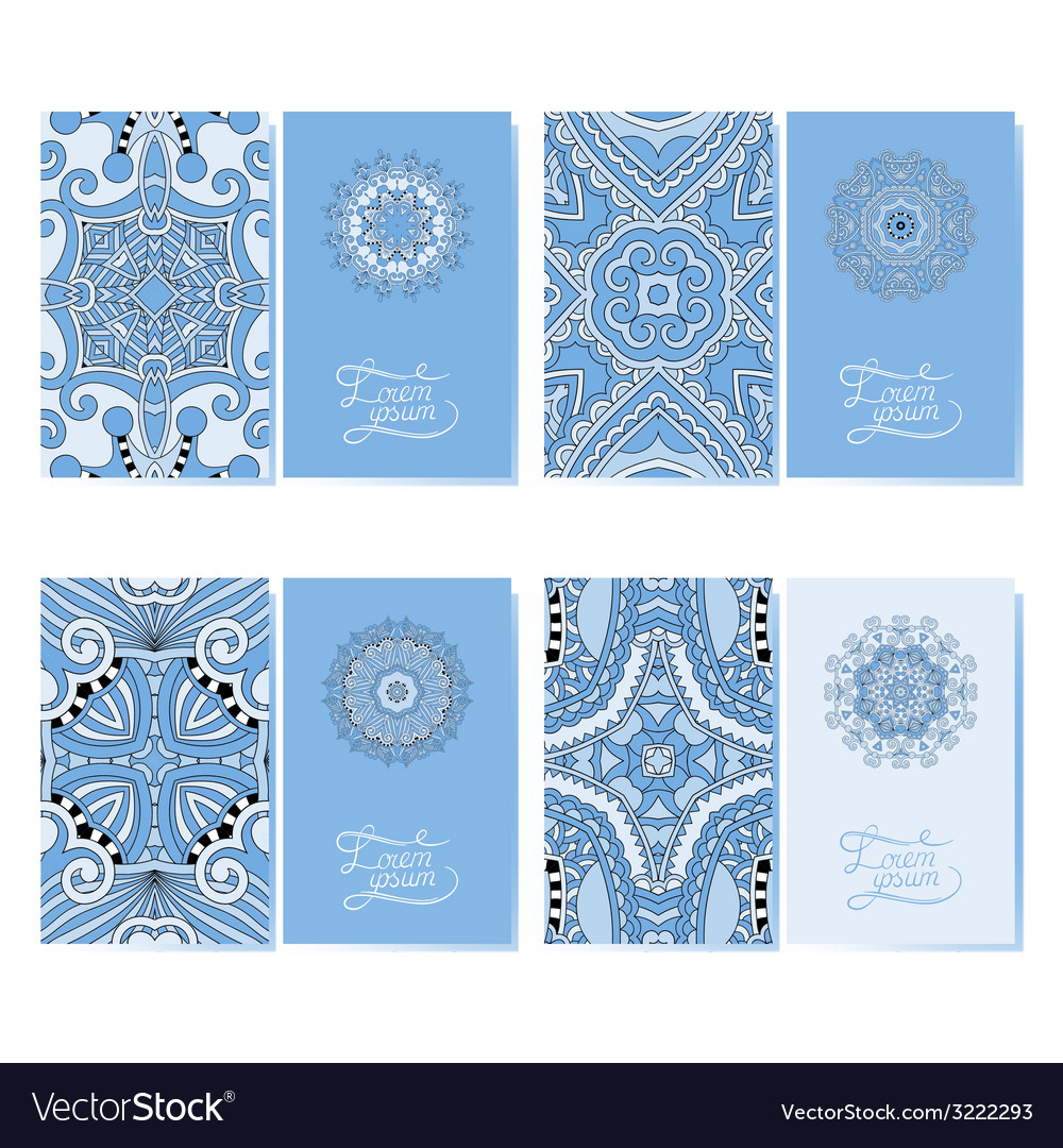 Blue colour collection of ornamental floral vector | Price: 1 Credit (USD $1)