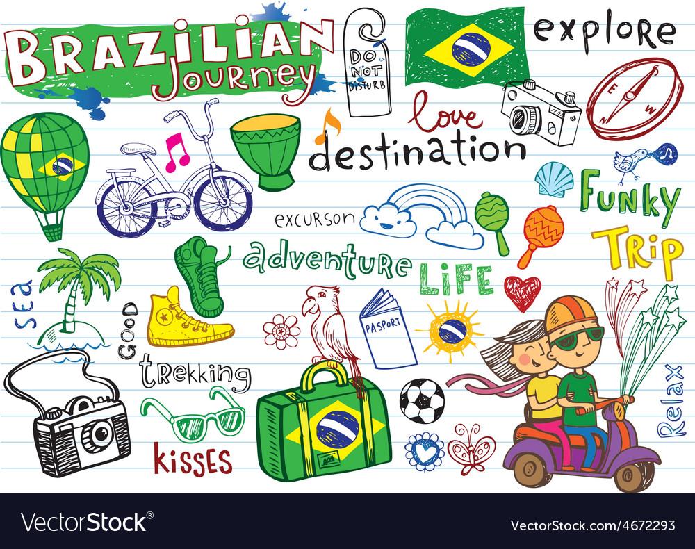 Brazilian travel doodles vector | Price: 1 Credit (USD $1)