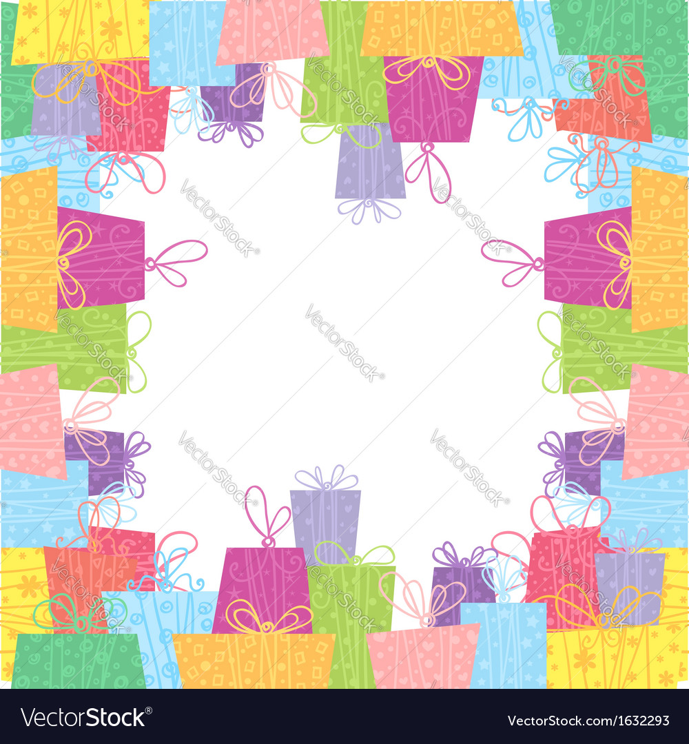 Colorful sale gift boxes celebration frame card vector | Price: 1 Credit (USD $1)