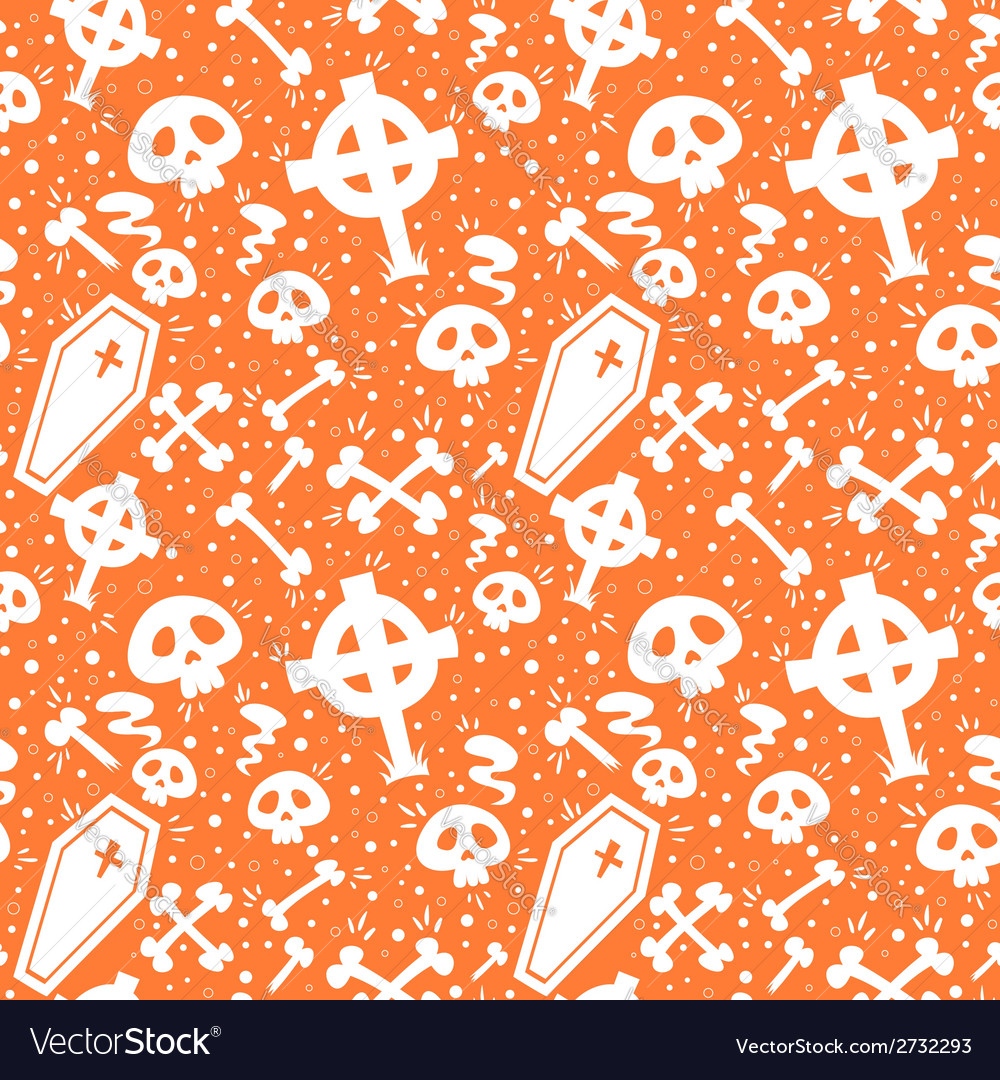 Creepy cartoon halloween seamless texture vector | Price: 1 Credit (USD $1)