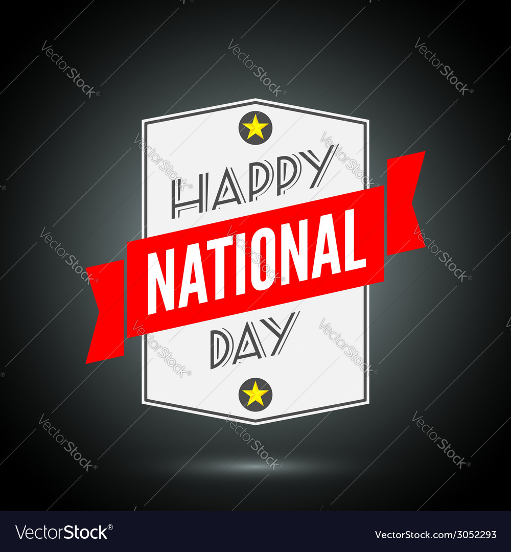 Happy national day badge with ribbon vector | Price: 1 Credit (USD $1)