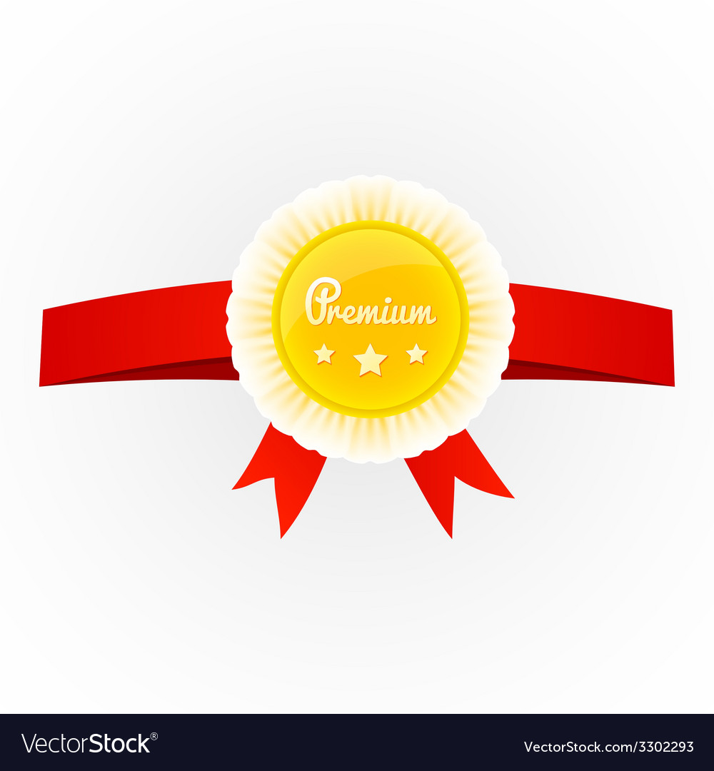Metal premium round badge on red ribbon isolated vector | Price: 1 Credit (USD $1)