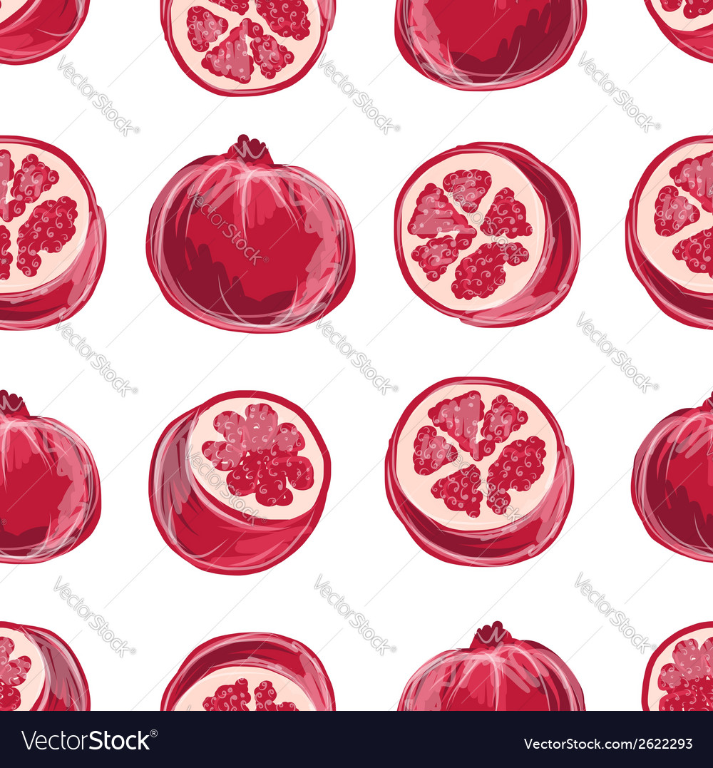 Pomegranate seamless pattern for your design vector | Price: 1 Credit (USD $1)