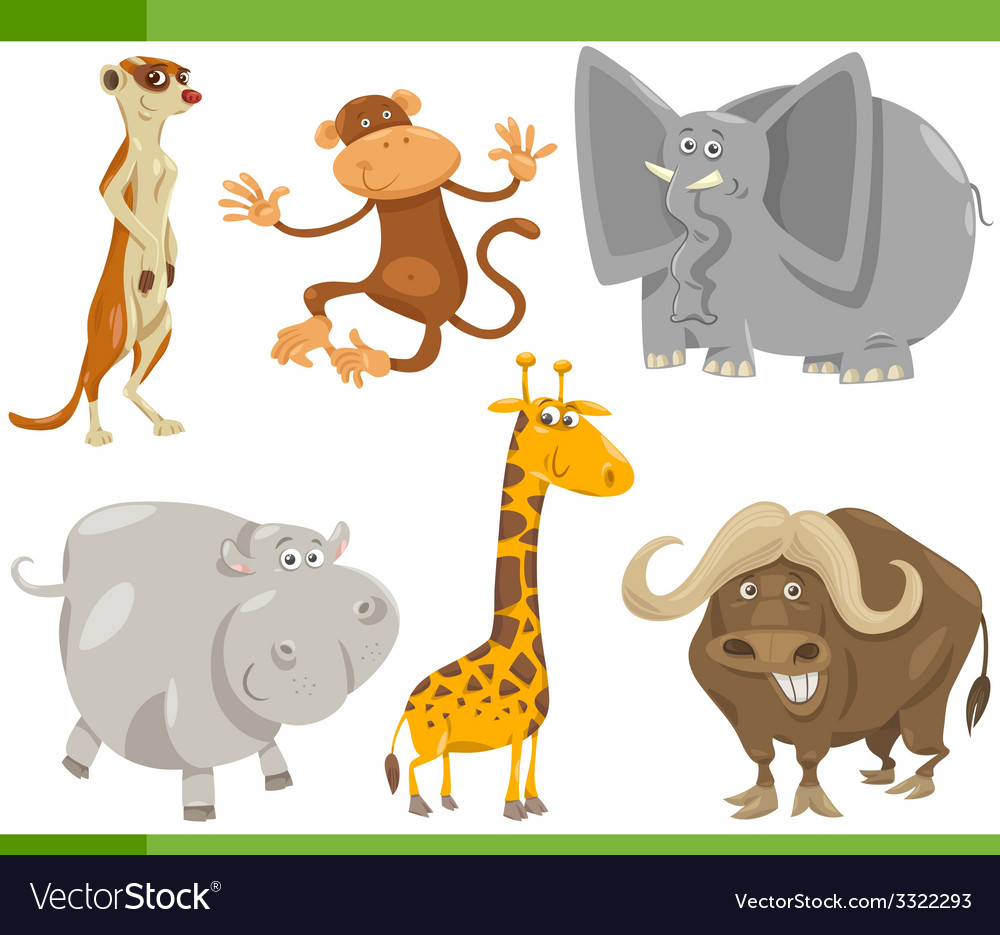 Safari animals cartoon set vector | Price: 3 Credit (USD $3)