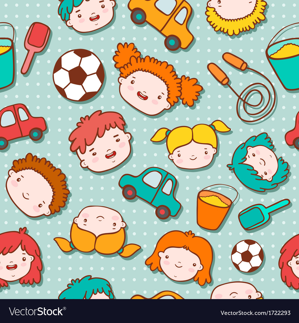 Seamless doodle kids background vector | Price: 1 Credit (USD $1)