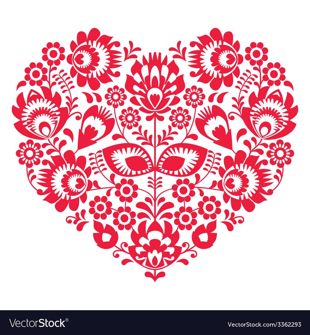Valentines day folk art red heart- polish pattern vector | Price: 1 Credit (USD $1)