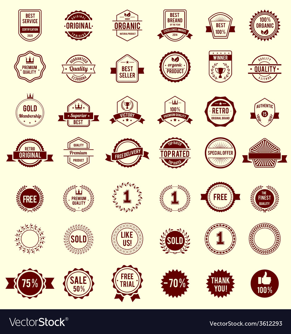 Variety designs retro vintage badges vector