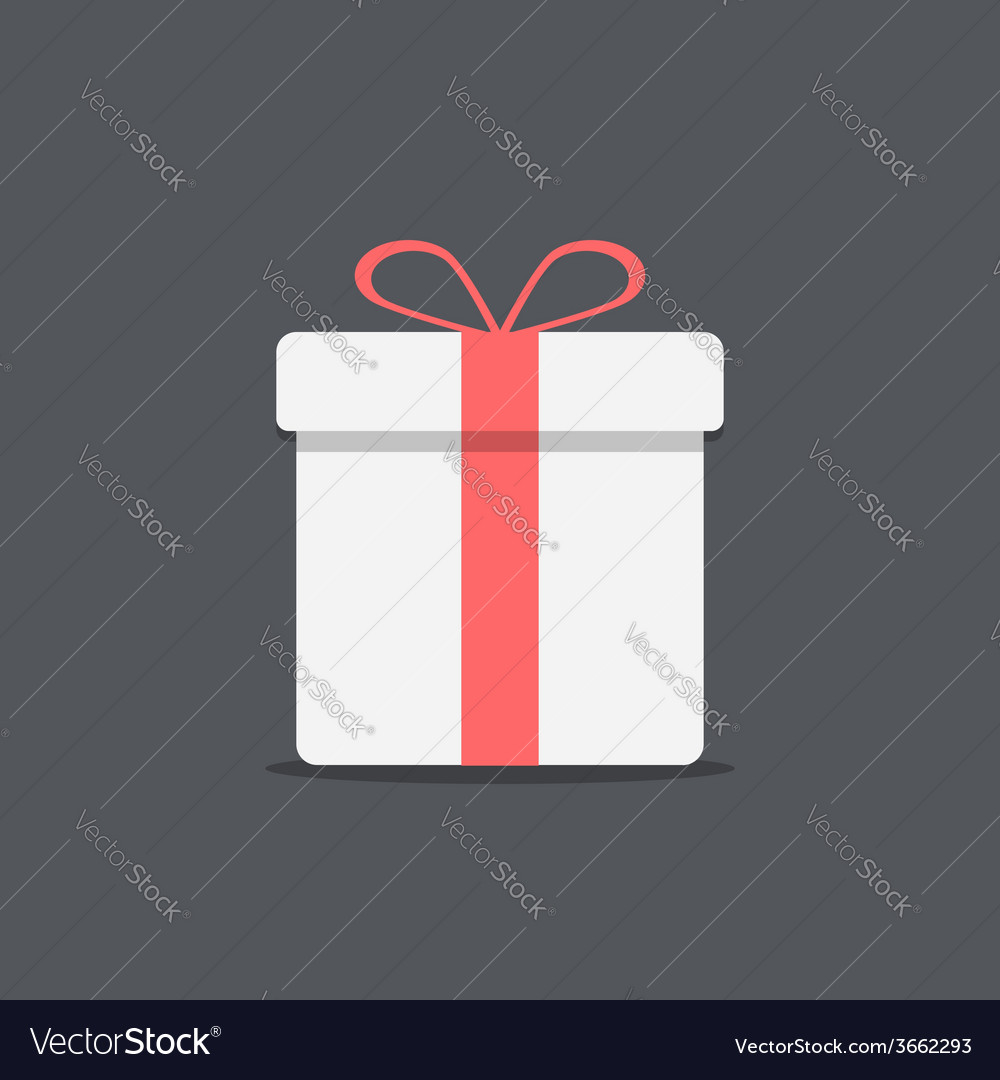 White gift box icon on dark background vector | Price: 1 Credit (USD $1)