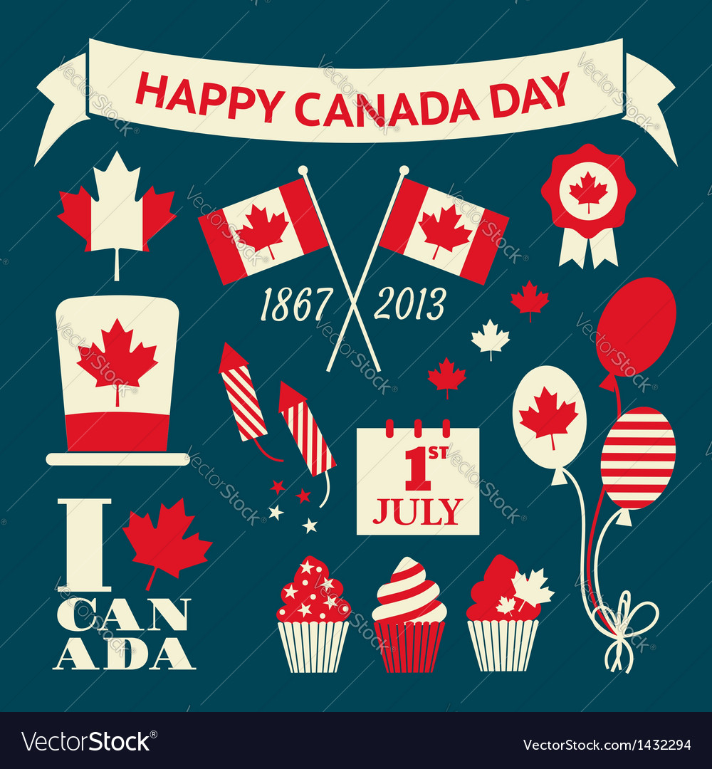Canada day design elements collection vector | Price: 3 Credit (USD $3)