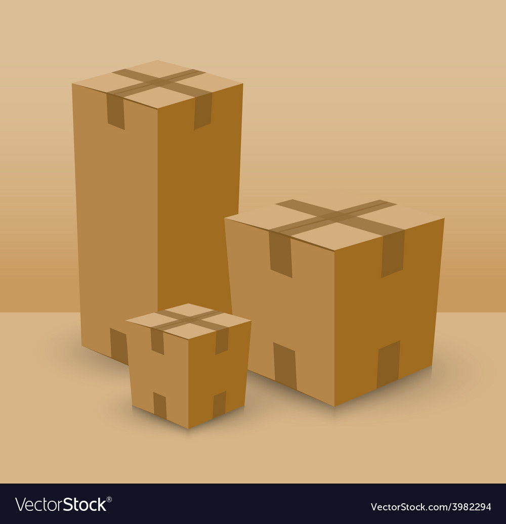 Cardboard box set vector | Price: 1 Credit (USD $1)