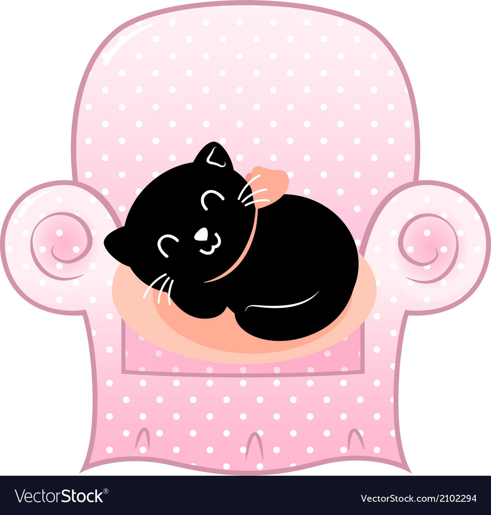 Cute sleeping cat on pink sofa isolated on white vector   Price: 1 Credit (USD $1)