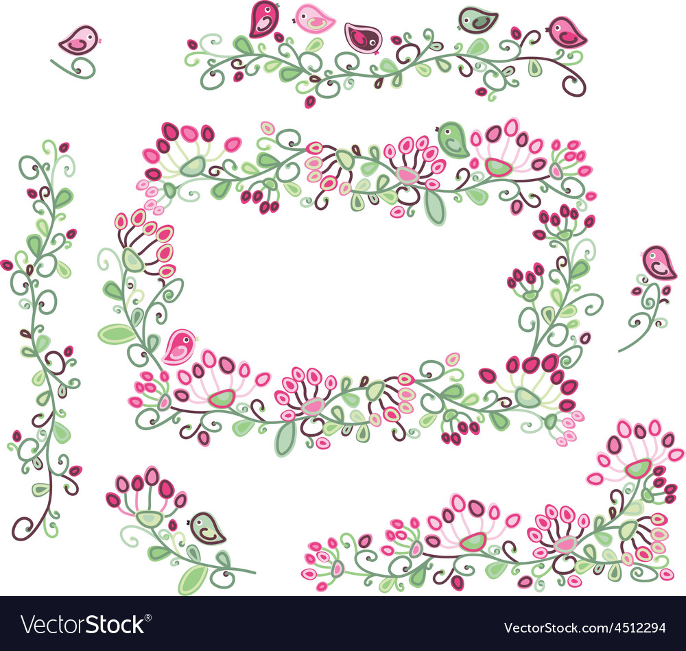 Floral elements pink green vector | Price: 1 Credit (USD $1)