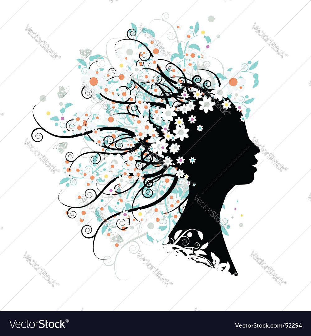 Floral head silhouette vector | Price: 1 Credit (USD $1)