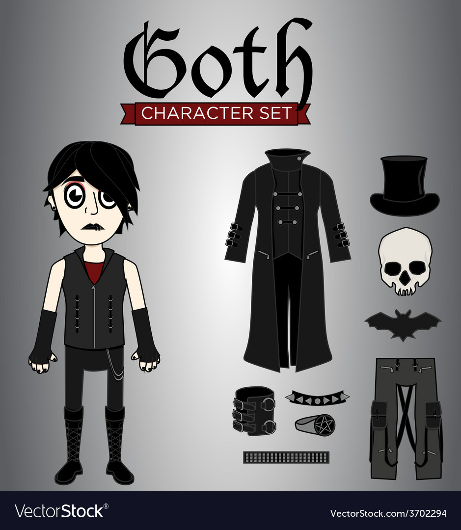 Goth male character set vector | Price: 1 Credit (USD $1)