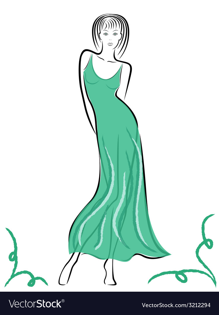 Graceful lady in turquoise gown vector | Price: 1 Credit (USD $1)