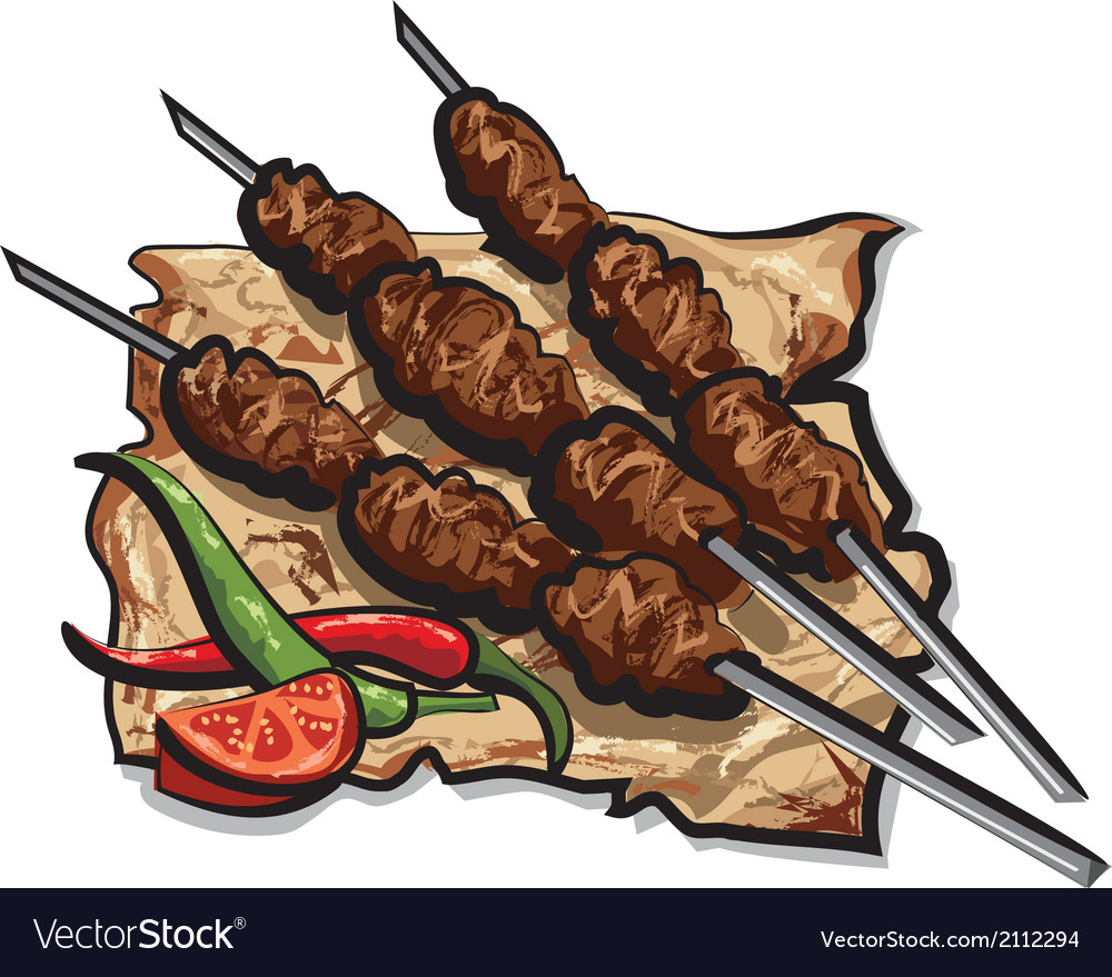 Kebab with pita vector | Price: 3 Credit (USD $3)