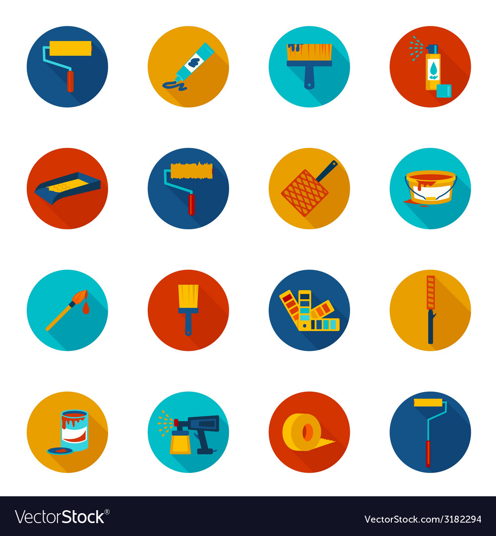 Painting icons colored vector | Price: 1 Credit (USD $1)