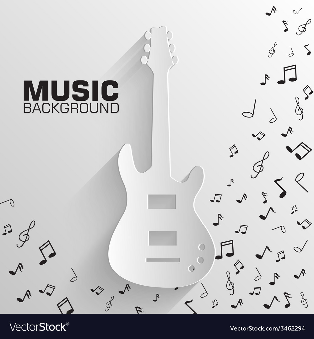 Paper electro guitar background concept tam vector | Price: 1 Credit (USD $1)