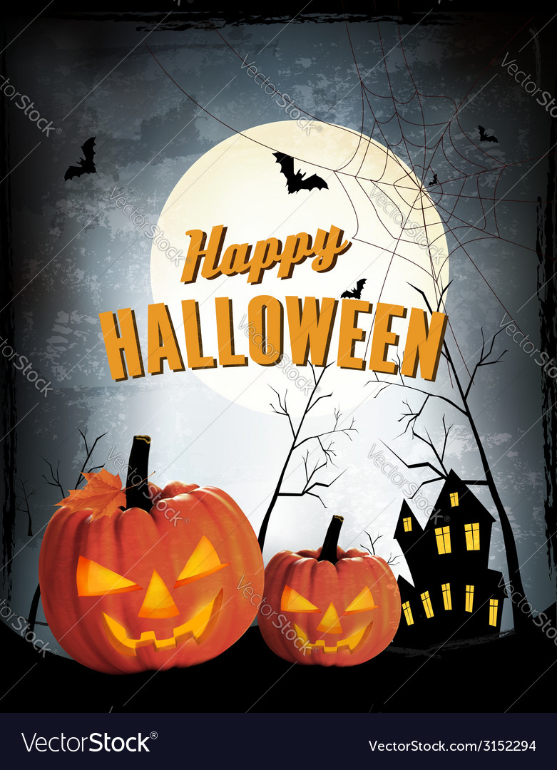 Retro halloween night background with two pumpkins vector | Price: 1 Credit (USD $1)