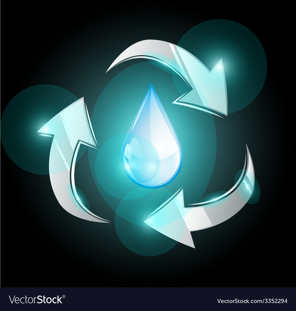Sustainable use of water with recycle symbol vector | Price: 1 Credit (USD $1)