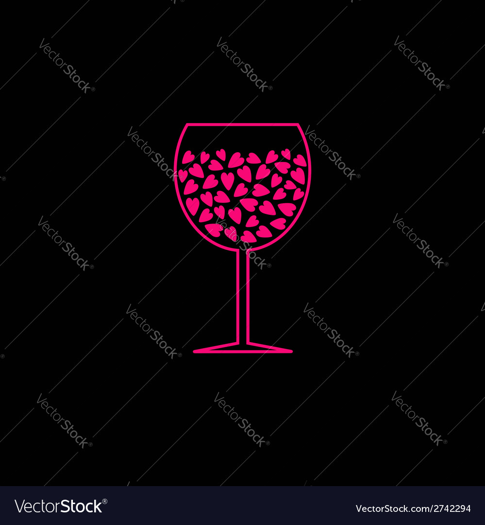 Wine glass with pink hearts inside black backgroun vector | Price: 1 Credit (USD $1)