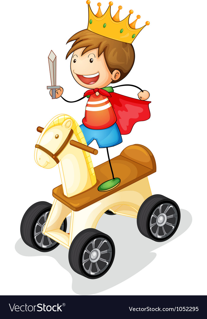 Boy on toy horse vector | Price: 3 Credit (USD $3)
