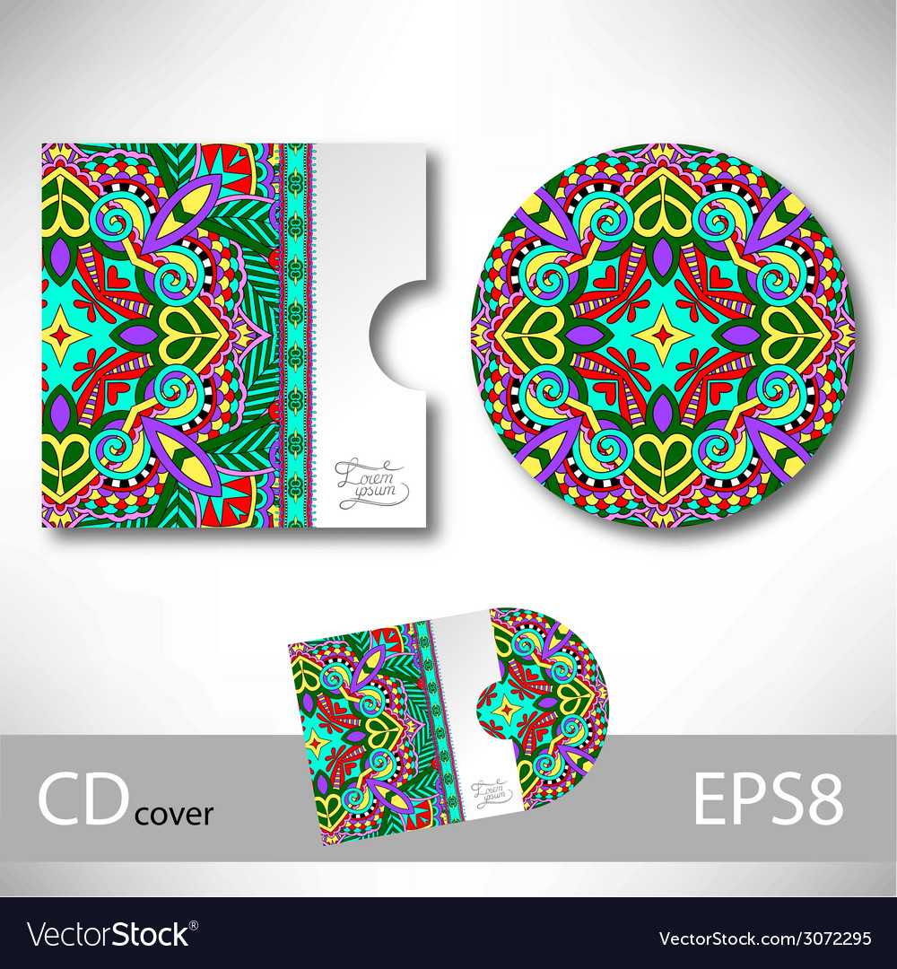 Cd cover design template with ukrainian ethnic vector | Price: 1 Credit (USD $1)
