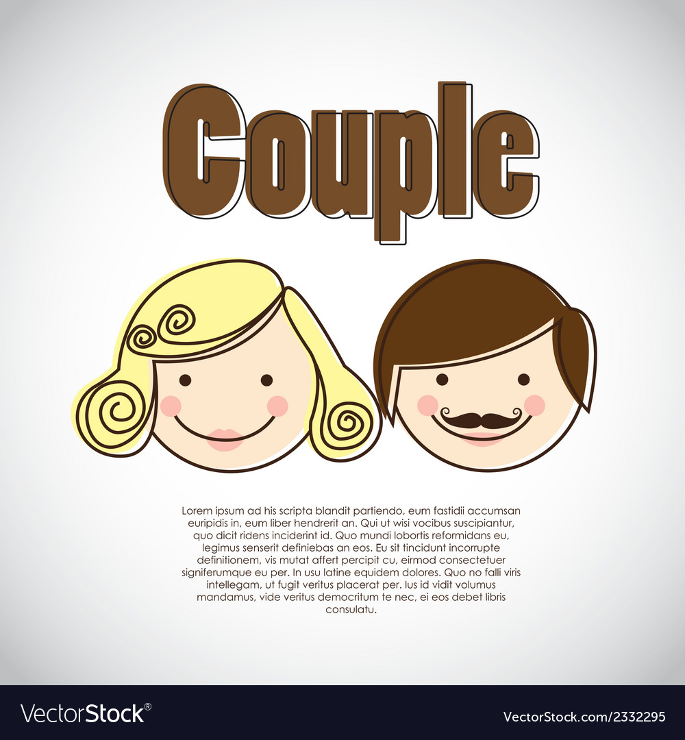 Couple on heart background vector | Price: 1 Credit (USD $1)