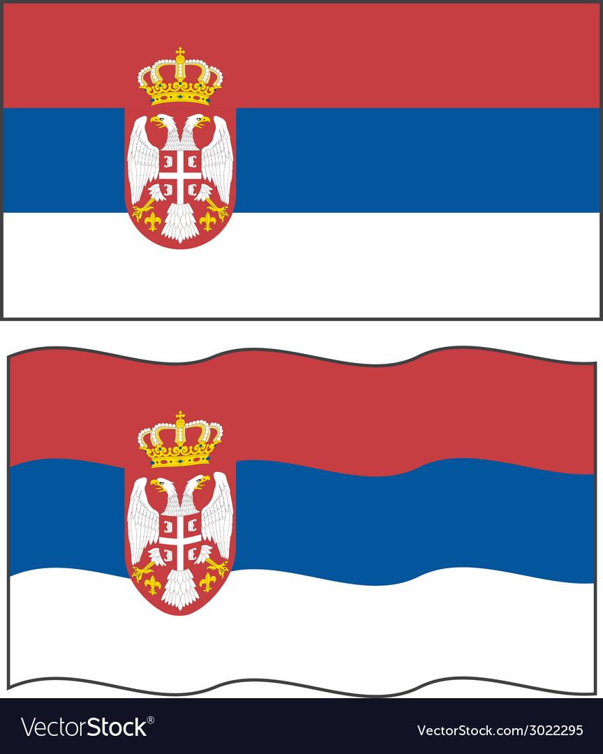 Flat and waving serbian flag vector | Price: 1 Credit (USD $1)