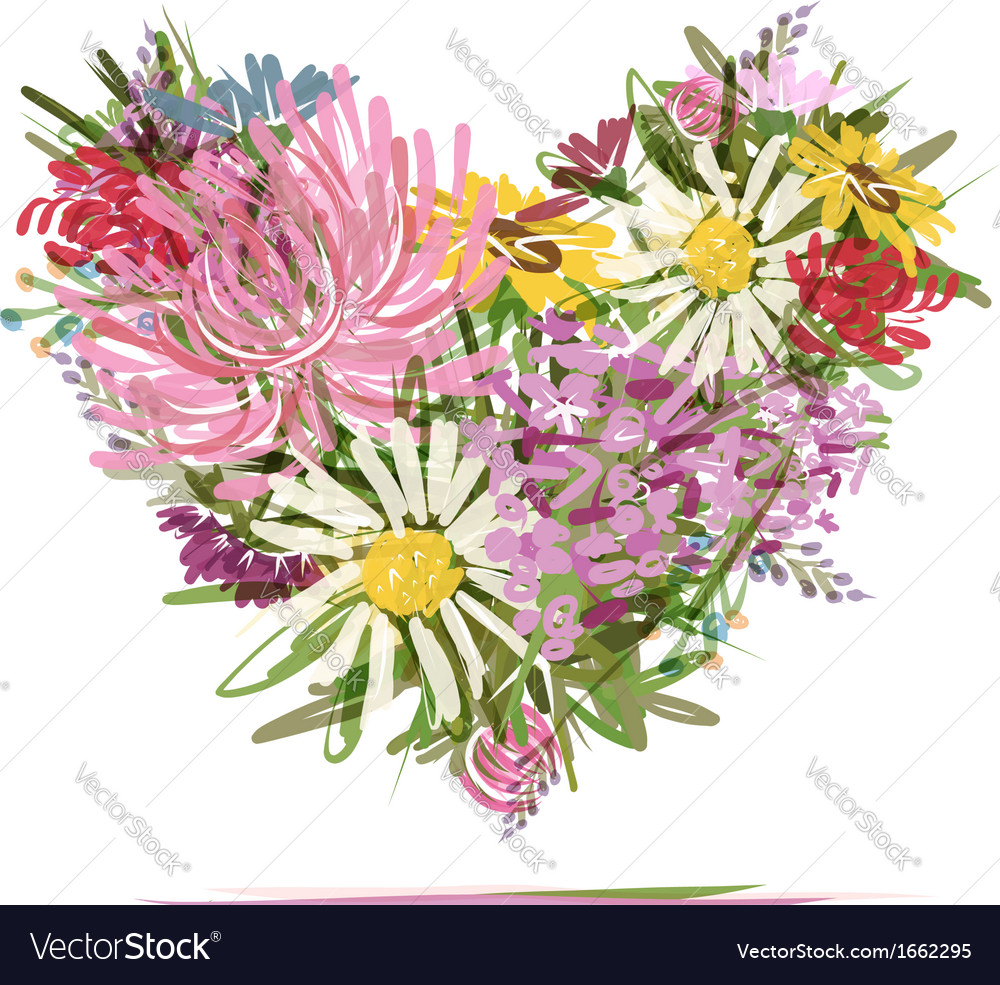 Floral summer bouquet heart shape for your design vector | Price: 1 Credit (USD $1)