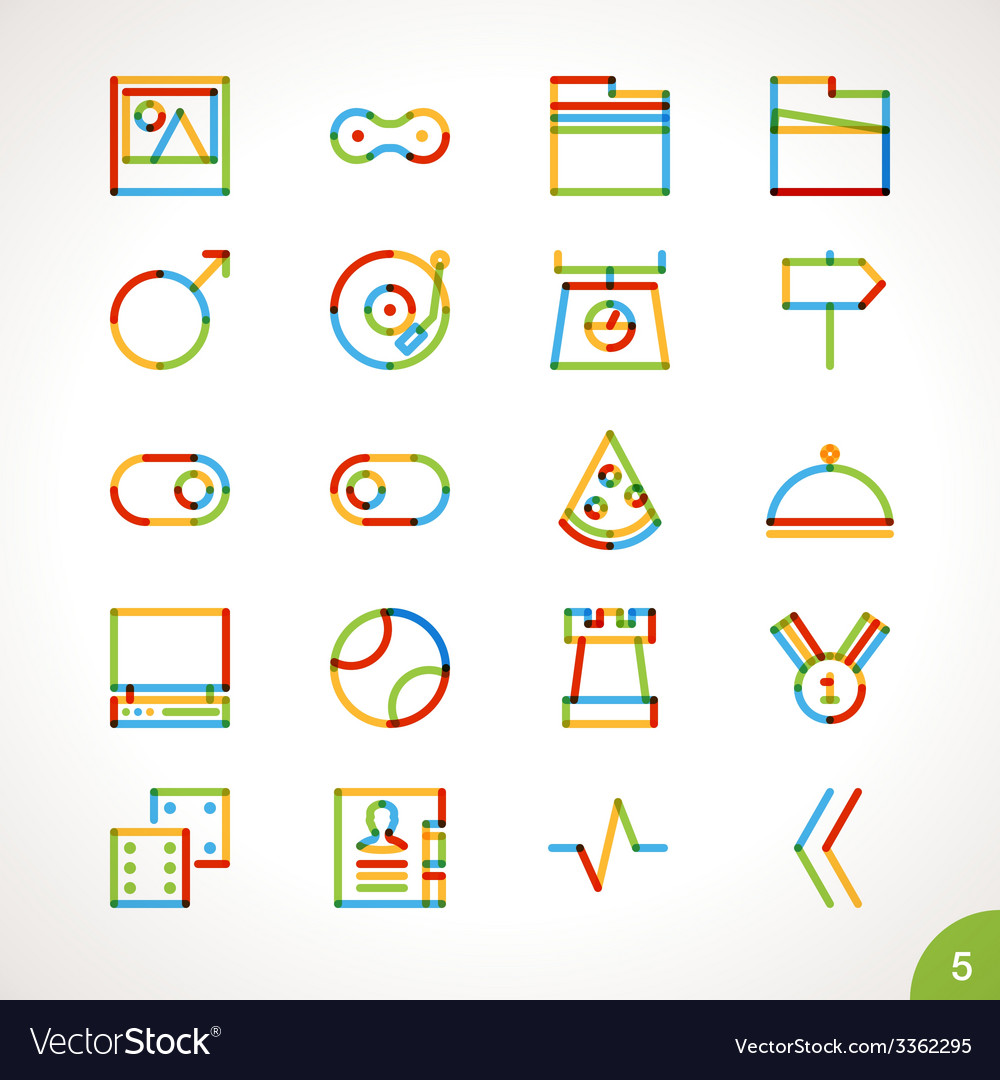 Highlighter line icons set 5 vector | Price: 1 Credit (USD $1)