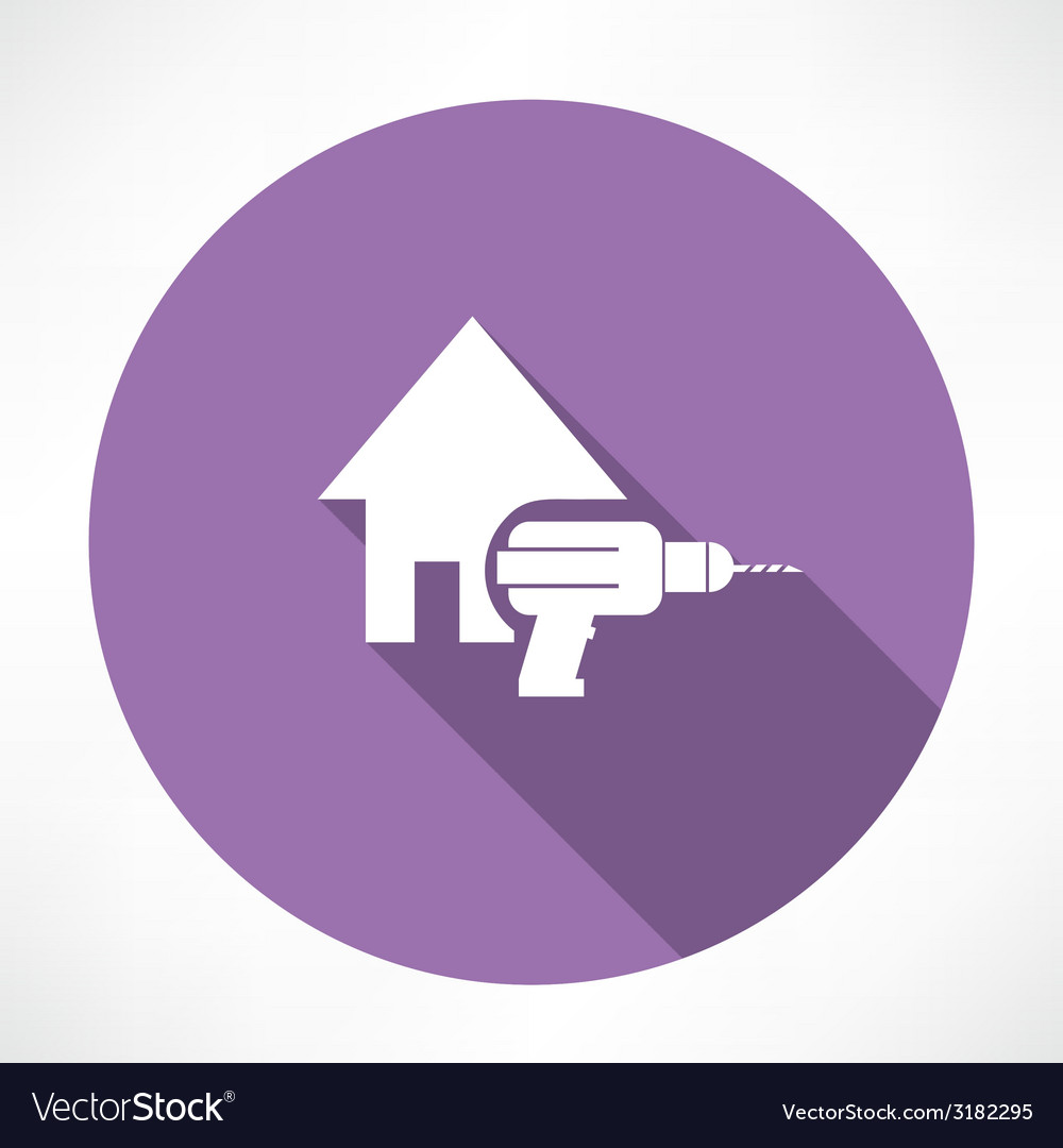 House and drill icon vector | Price: 1 Credit (USD $1)
