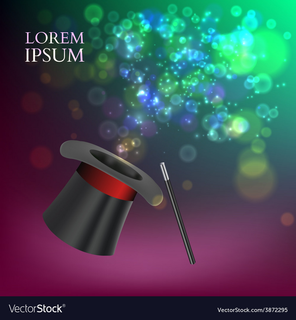 Magician top hat and stick with magic particles vector | Price: 1 Credit (USD $1)