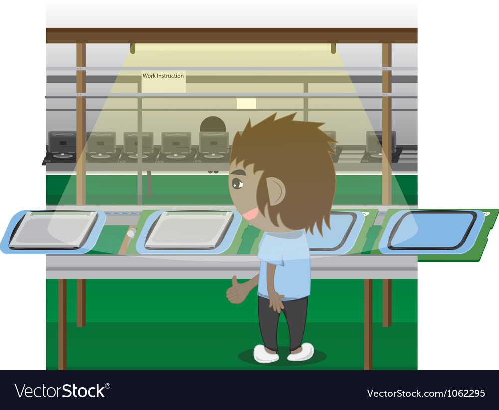 Man assembly in process production television vector | Price: 1 Credit (USD $1)