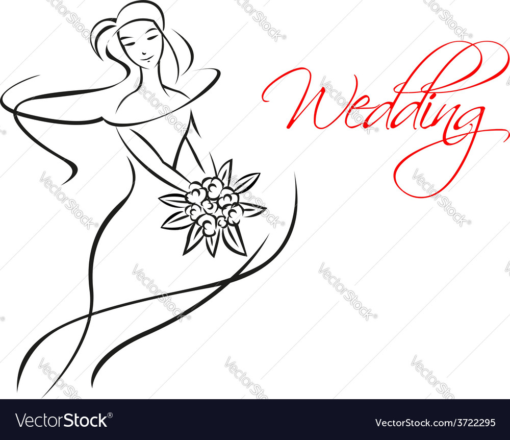 Outline silhouette of bride with flowers vector | Price: 1 Credit (USD $1)