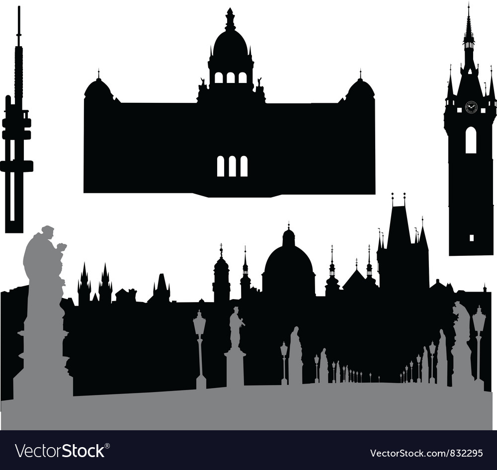 Prague silhouette vector | Price: 1 Credit (USD $1)