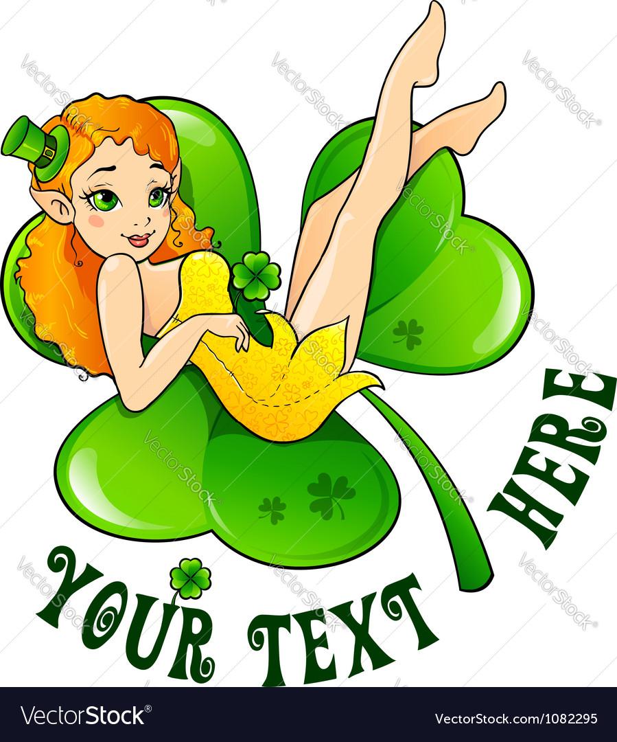 Sexy leprechaun girl on big green clover leaf vector   Price: 1 Credit (USD $1)