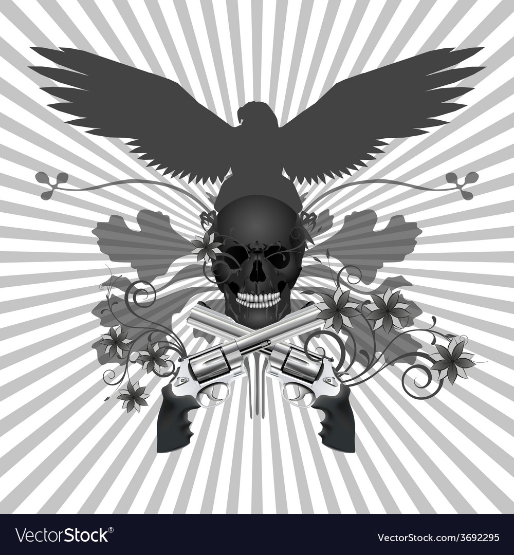 Skull with guns and flowers vector | Price: 1 Credit (USD $1)