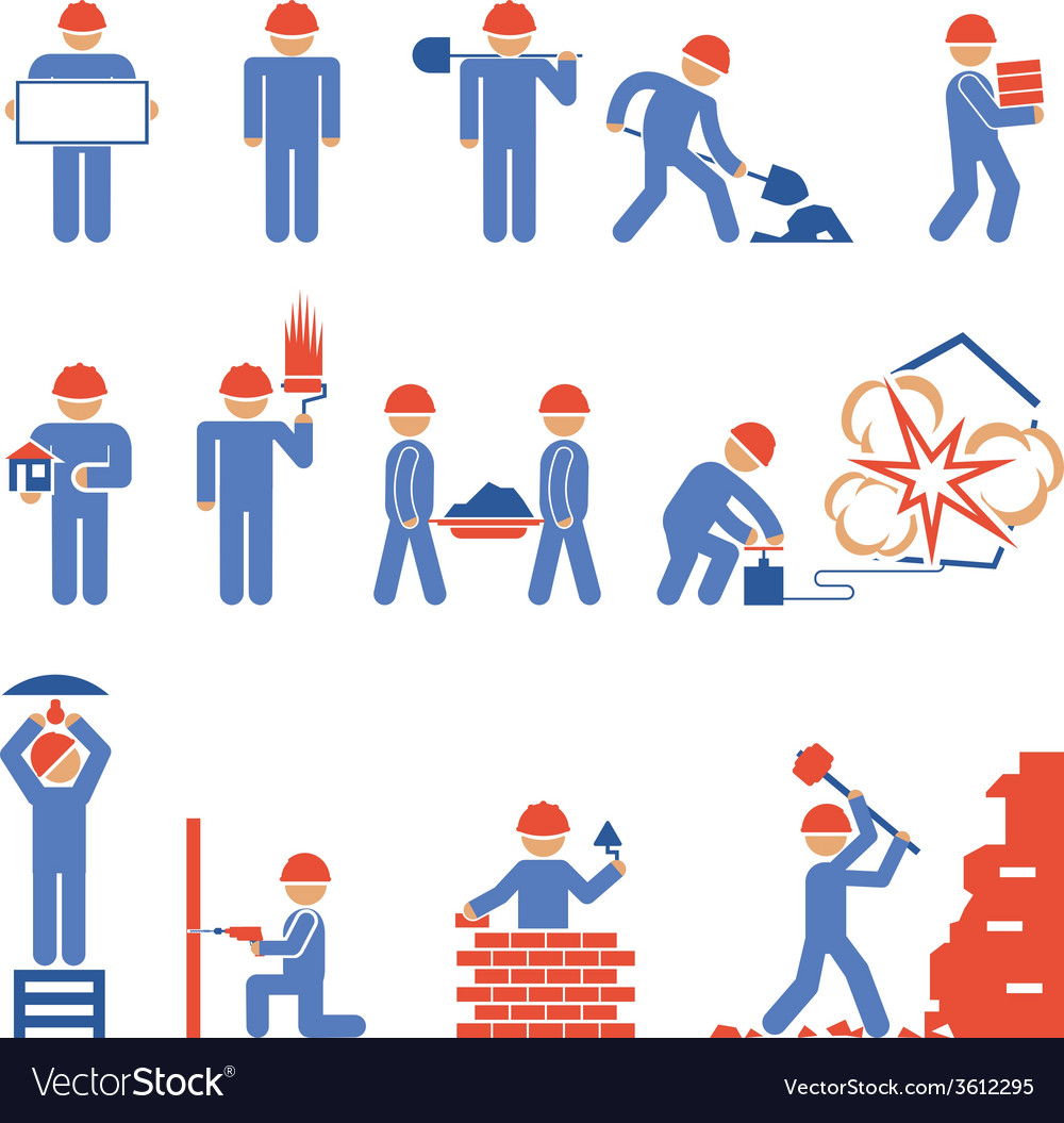 Various building and demolition character icons vector | Price: 1 Credit (USD $1)
