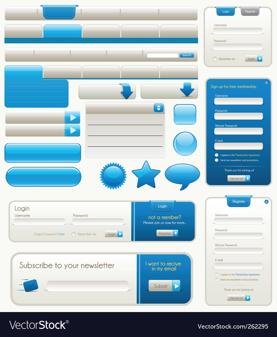 Website design elements vector | Price: 3 Credit (USD $3)