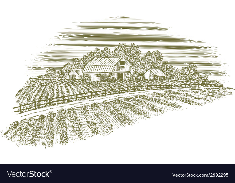 Woodcut farm road vector | Price: 1 Credit (USD $1)