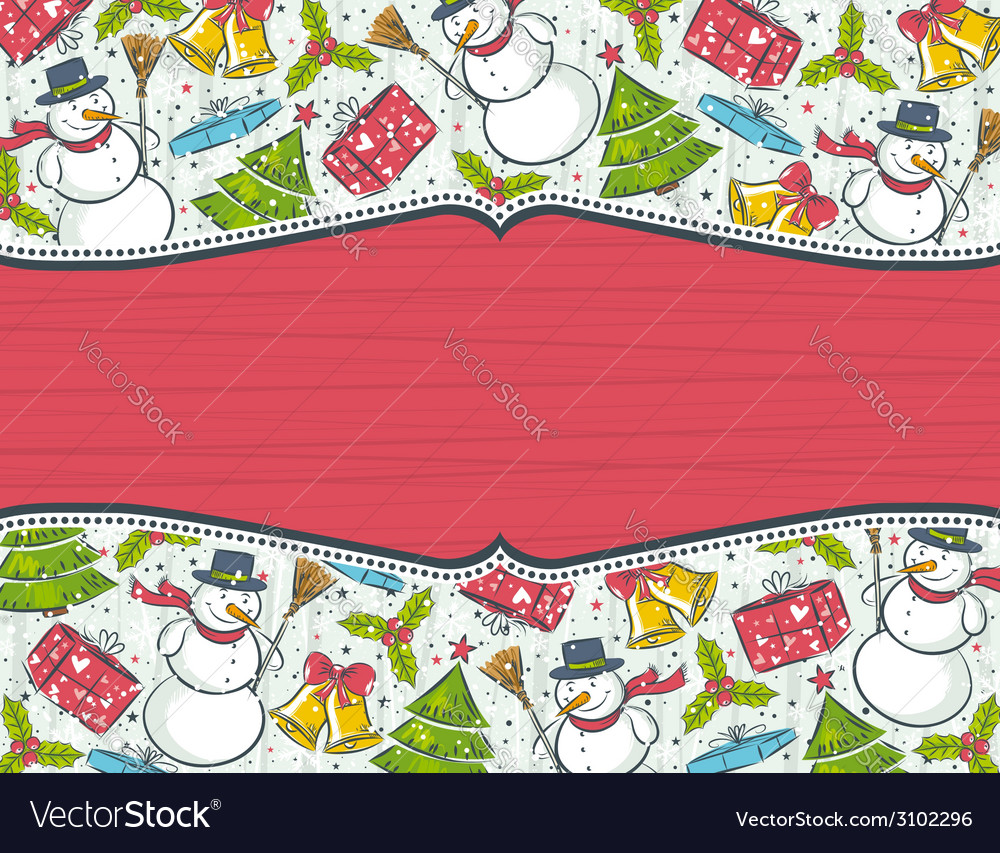 Background with christmas elements and red label f vector | Price: 1 Credit (USD $1)