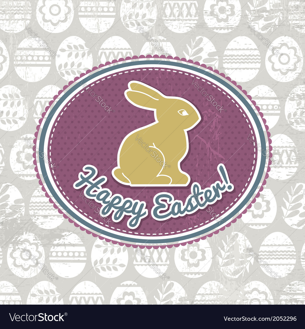 Background with easter eggs label and rabbit vector | Price: 1 Credit (USD $1)